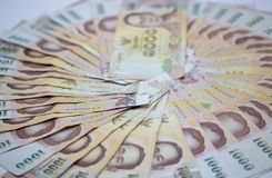 Dinero, baño tailandés 1000 de la moneda vista ascendente cercana del baño del dinero del efectivo, círculo fotografía de archivo