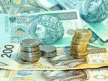 Dinero - billetes de banco y monedas Imagen de archivo libre de regalías