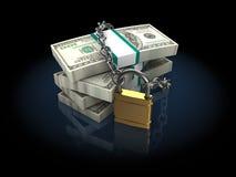 Dinero bloqueado Fotografía de archivo libre de regalías