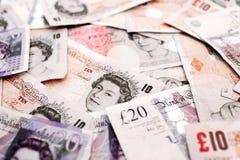 Dinero BRITÁNICO de los billetes de banco del dinero en circulación Fotos de archivo libres de regalías