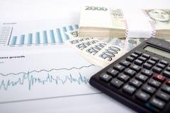 Dinero, calculadora y cartas checos Foto de archivo