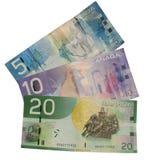 Dinero canadiense aislado Imágenes de archivo libres de regalías