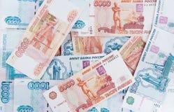 Dinero cinco mil y mil rublos Foto de archivo libre de regalías