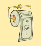 Dinero como papel higiénico, efectivo fácil o conceptos de la crisis, ejemplo del vector del estilo de la historieta stock de ilustración