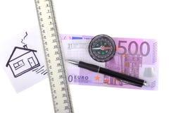 Dinero compás de quinientos euros Fotografía de archivo libre de regalías