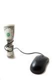 Dinero con el ratón atado alrededor de él, bugeting Fotos de archivo libres de regalías