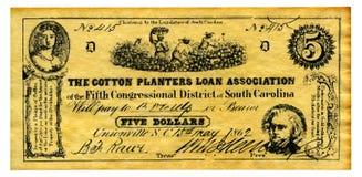 Dinero confederado imagenes de archivo
