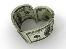 Dinero. Corazón Foto de archivo