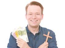 Dinero cristiano feliz imágenes de archivo libres de regalías