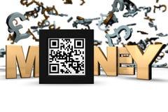Dinero 3D QR imágenes de archivo libres de regalías