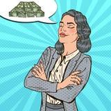 Dinero de Art Business Woman Dreaming About del estallido stock de ilustración
