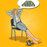 Dinero de Art Business Woman Dreaming About del estallido libre illustration