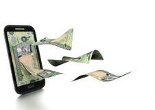 dinero de Bahrein rendido 3D del dinar inclinado y aislado en el fondo blanco stock de ilustración