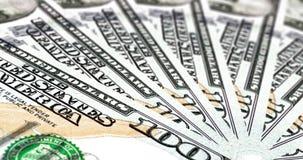 Dinero de cientos dólares Bill Spinning y rotación Concepto de volumen de ventas del ciclo de negocio y de gestión de la tesorerí metrajes