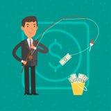Dinero de cogida del hombre de negocios en la caña de pescar ilustración del vector