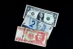 Dinero de Cuba, de los E.E.U.U. y del Brasil Foto de archivo