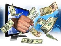 Dinero de Internet de la ganancia Imágenes de archivo libres de regalías