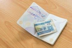 Dinero de Kip del sello del pasaporte del Lao Imágenes de archivo libres de regalías