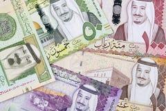 Dinero de la Arabia Saudita, un fondo del negocio imágenes de archivo libres de regalías