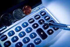 Dinero de la calculadora Imagen de archivo