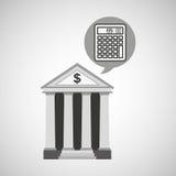 Dinero de la calculadora de la economía del banco del edificio Imagen de archivo libre de regalías