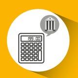 Dinero de la calculadora de la economía del banco del edificio Fotografía de archivo