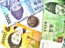 dinero de la Corea del Sur, moneda ganada Fotos de archivo