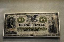 Dinero de la guerra civil 10 diez dólares Imagen de archivo