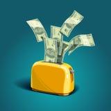 Dinero de la hornada de la tostadora Foto de archivo libre de regalías