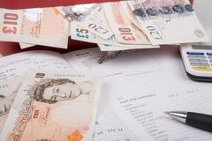 Dinero de la libra esterlina en caja fuerte Fotografía de archivo