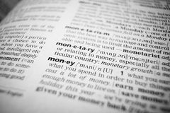 Dinero de la palabra, macro Imágenes de archivo libres de regalías