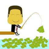 Dinero de la pesca del hombre de negocios Imágenes de archivo libres de regalías