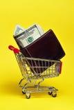 Dinero de las compras Fotos de archivo