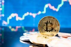 Dinero de las finanzas de la moneda de la moneda del bitcoin del blockchain b del negocio imagenes de archivo
