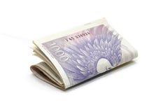 Dinero de los billetes de banco de Checo mil Foto de archivo libre de regalías