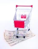 Dinero de los E.E.U.U. y carretilla de las compras Imagenes de archivo