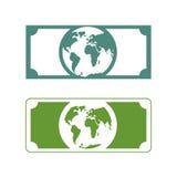 Dinero de los mundos Billetes de banco con tierra del planeta Futuro del efectivo con p libre illustration