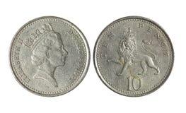 Dinero de metal BRITÁNICO, 10 peniques imagen de archivo libre de regalías