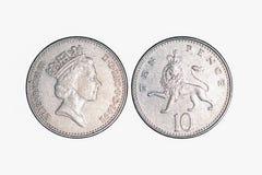 Dinero de metal BRITÁNICO, 10 peniques foto de archivo libre de regalías