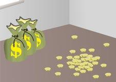 Dinero de ocultación en el conrner Fotografía de archivo libre de regalías