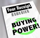 Dinero de papel del ahorro de las compras de la compra del recibo de las palabras del poder adquisitivo Imagen de archivo libre de regalías