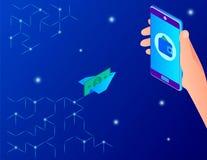 Dinero de recepción abstracto usando un smartphone stock de ilustración