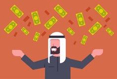 Dinero de Rich Arab Business Man Throwing encima del hombre de negocios musulmán Financial Success Concept Imagen de archivo libre de regalías