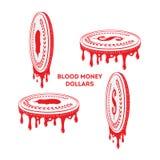 Dinero de sangre Monedas de oro del dólar ilustración del vector