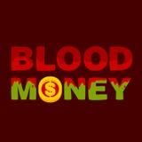 Dinero de sangre oscuro del texto Foto de archivo libre de regalías