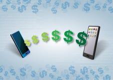 Dinero de Smartphones y transferencia contenta Imagen de archivo libre de regalías