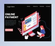 Dinero de transferencia con concepto isométrico de las ilustraciones del pago en línea ilustración del vector
