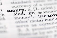 Dinero; Definición en diccionario inglés. Fotografía de archivo libre de regalías