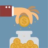 Dinero del ahorro de la mano grande ilustración del vector