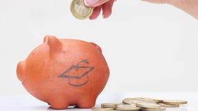 Dinero del ahorro de la mujer en una hucha tradicional de la arcilla a estudiar almacen de video